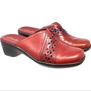 Clarks Shoes Leather Cut Out Mules Clogs Slides 11